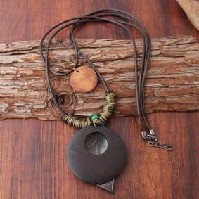 Newchic Vintage Double Layer Wood Pendant Necklace Handmade Round Plate Leaf Pendant Women Long Necklaces
