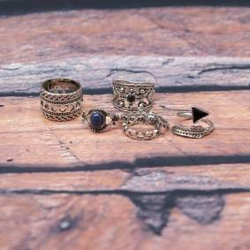 Newchic 7pcs Bohemian Rings Retro Turquoise Knuckle Ring