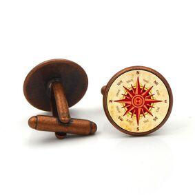 Newchic Vintage 1 Pair of Cufflinks Compass Disk Round Glass Zinc Alloy Collar Knot Tie Jewelry Accessories