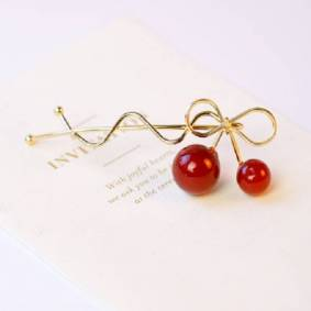 Newchic Sweet Hair Clip Gold Silver Alloy Red Cherry Bowknot Design Hairpin Hair Accessories for Women