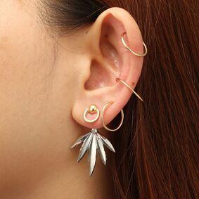Newchic Fashion Leaf Geometric Stud Earrings Gold Rings Ear Clip Punk Jewelry Gift for Girls Women