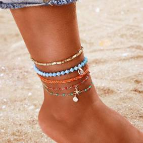 Newchic Bohemian Shell Colorful Rice Beads Multi-layer Anklet Metal Geometric Starfish Chain Anklet