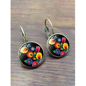 Newchic Vintage Polish Folk Art Patterns Earrings Unique Flowers Pictures Color Print Glass Crystal Ear Drop Female Jewelry