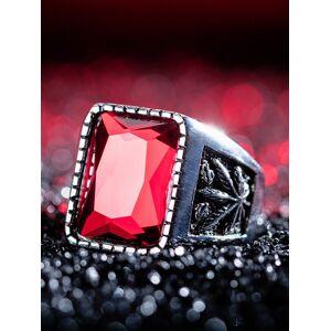 Newchic Vintage Titanium Steel Men's Ring Metal Glass Stone Inlay Maple Leaf Sculpture Ring Punk Jewelry