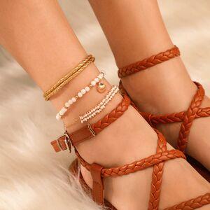Newchic Bohemian Metal Shell Tassel Multi-layer Anklet Pearl Hand Woven Tassel Anklet