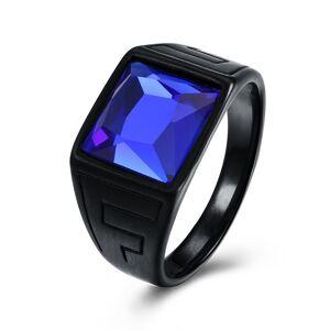 Newchic Fashion Titanium Steel Ring Blue Gemstone Gun Black Plated Rock Finger Ring for Men Gift