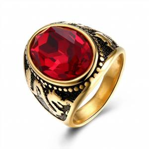Newchic Vintage Gold Plated Titanium Stainless Steel Ring Dragon Engraved Red Gemstone Ring for Him