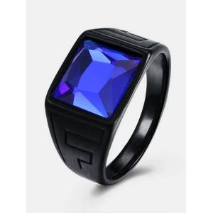 Newchic Titanium Steel Blue Gem Ring