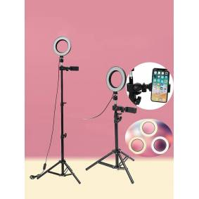 Newchic Dimmable LED Studio Camera Ring Light Makeup Photo Phone Video Lamp Selfie Stand USB Plug Tripod lamp Light with Phone Holder for Makeup Youtube