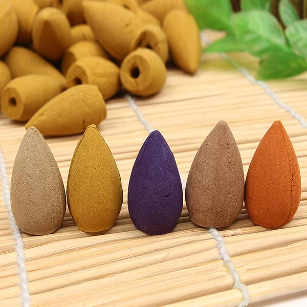 Newchic 50Pcs Fragrance Incense Cone Buddhist Plant Essential Oil Incense Burner Cones