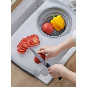 Newchic Kitchen Telescopic Multifunctional Thick Plastic Chopping Board Drain Storage Basket