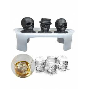 Newchic 3D Skull Ice Cube Tray Halloween Ice Mold Cocktiail Silicone Ice-cream Mold Maker Skull Shape Chocolate Mold Kitchen Tools Set Of 3