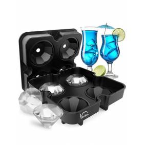 Newchic 4 Grids Diamant Form Ice Cube Mold Ice Mold Maker Bar Party Silikon Ice Trays for Kitchen Storage Tool