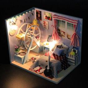 Newchic Hoomeda DIY Childhood Memory Wood Dollhouse Miniature With LED+Furniture+Cover Dollhouse
