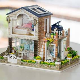 Newchic DIY Wooden Irish Country House With LED Music Furniture Dollhouse