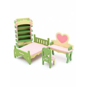 Newchic 4 Sets of Delicate Wood Dollhouse Furniture Kits for Doll House Miniature Family Fun Toy