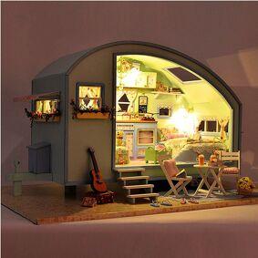 Topacc Cuteroom DIY Wooden Dollhouse Miniature Kit Doll house LED+Music+Voice Control