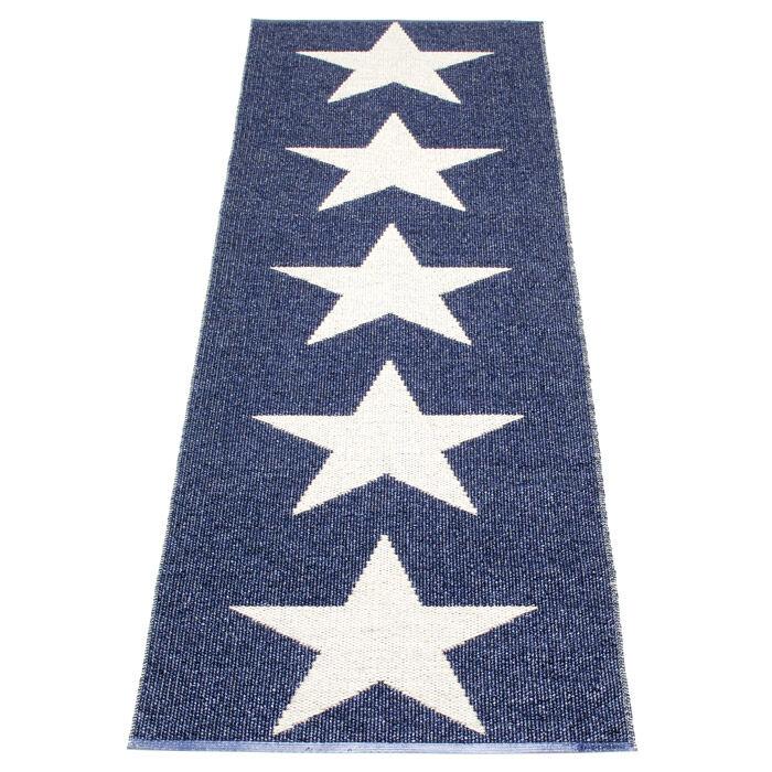 Pappelina Viggo Star Gulvteppe 70x150 cm, Metallic Blue