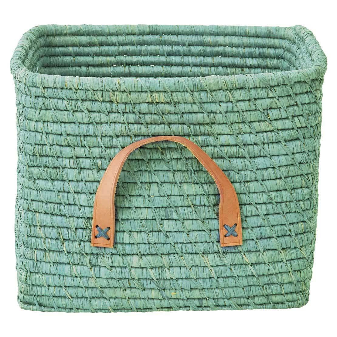 RICE Basket with Leather Handles, Mint