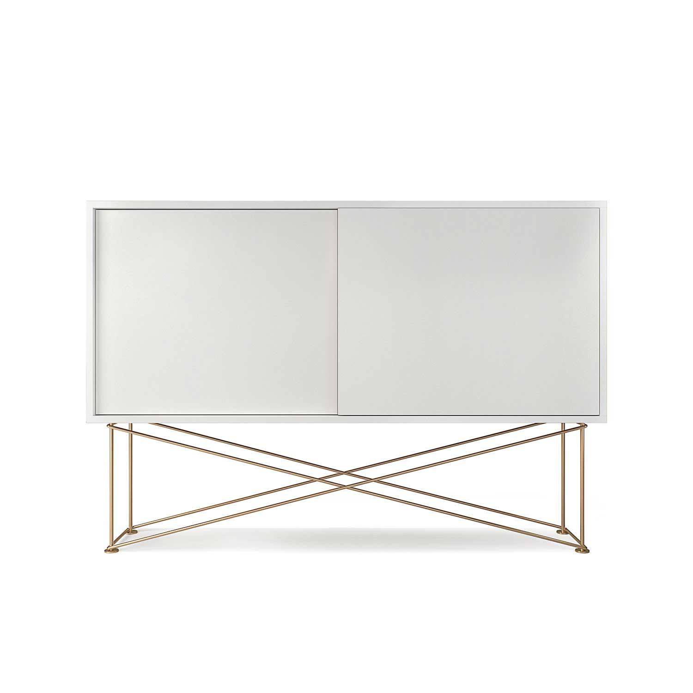Decotique Vogue Sideboard 136H, Hvit/2W/Messing
