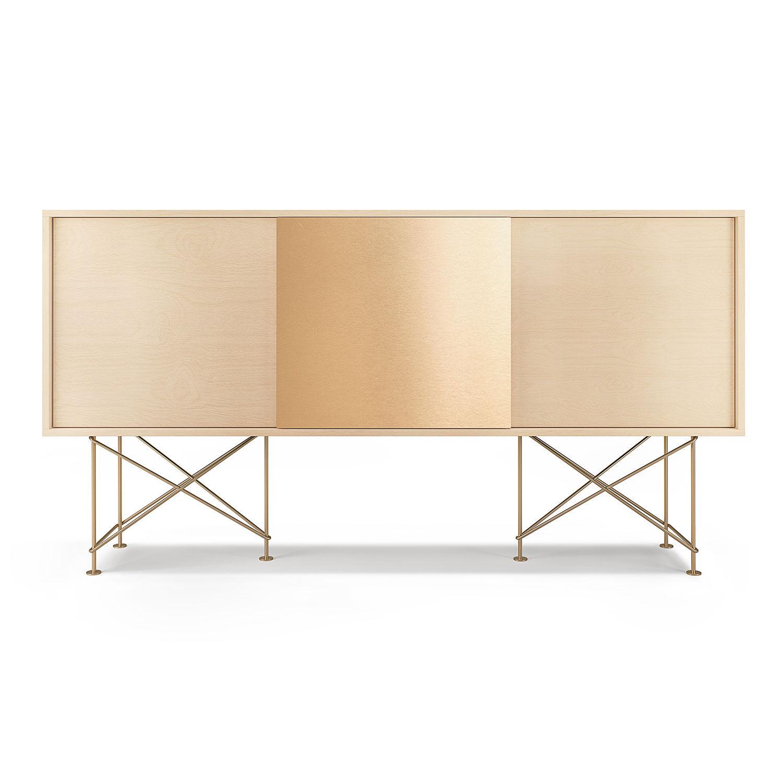 Decotique Vogue Sideboard 180H, Hvit Eik/2WO1B/Messing