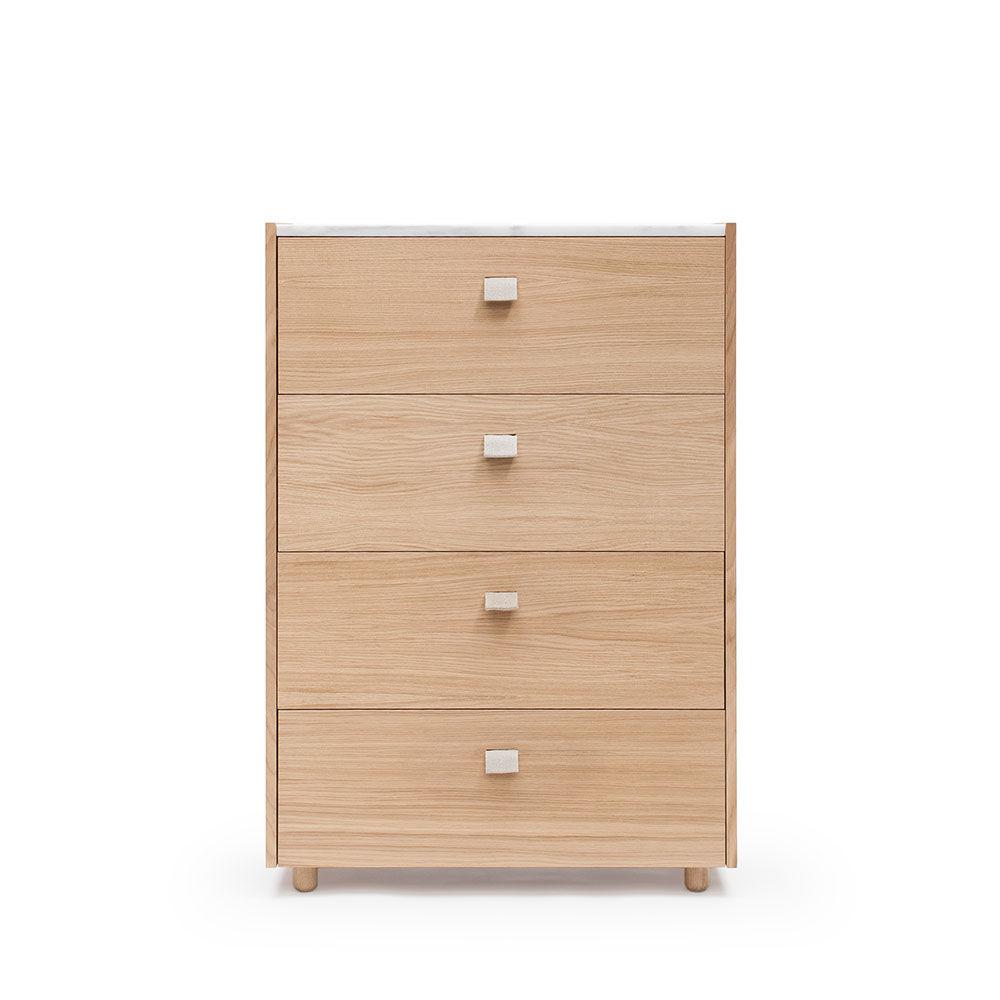 Decotique Loft Kommode TE4, Eik/Hvit Marmor