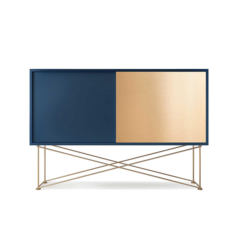 Decotique Vogue Sideboard 136H, Mørkeblå/1DB1B/Messing