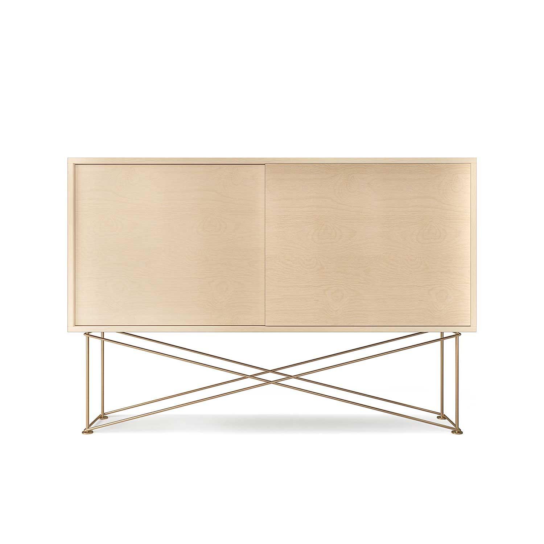 Decotique Vogue Sideboard 136H, Hvit Eik/2WO/Messing