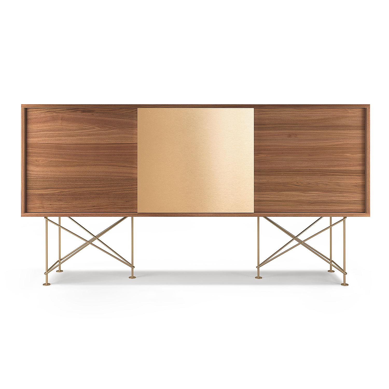 Decotique Vogue Sideboard 180H, Valnøtt/2W1B/Messing