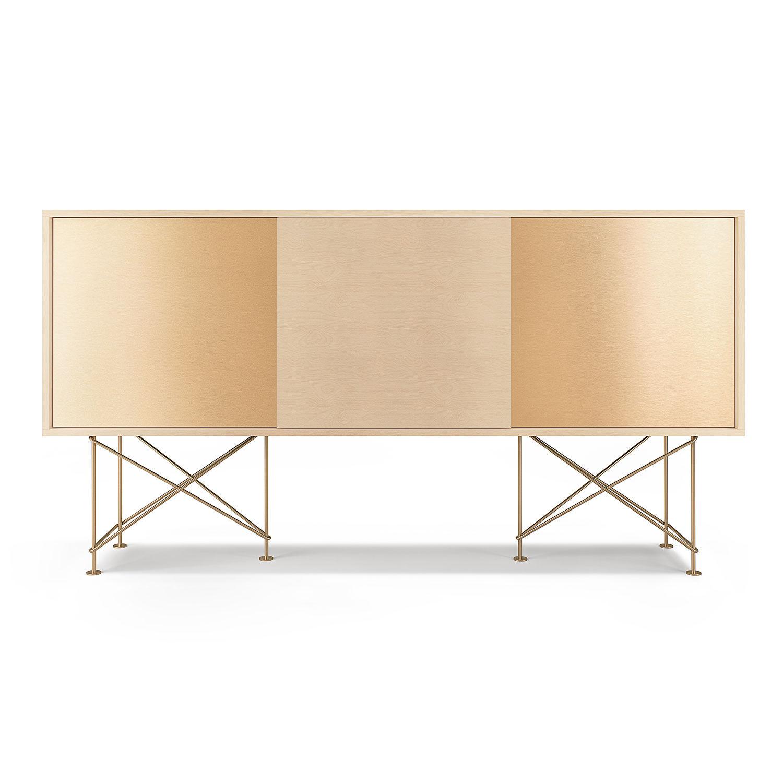 Decotique Vogue Sideboard 180H, Hvit Eik/1WO2B/Messing