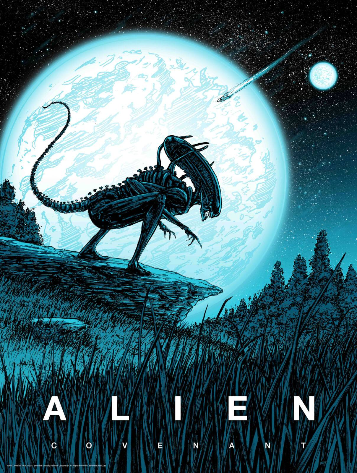 Acme Archives Alien Covenant By Barry Blankenship With A Glow-In-The-Dark Layer - Zavvi Exclusive Limited Edition