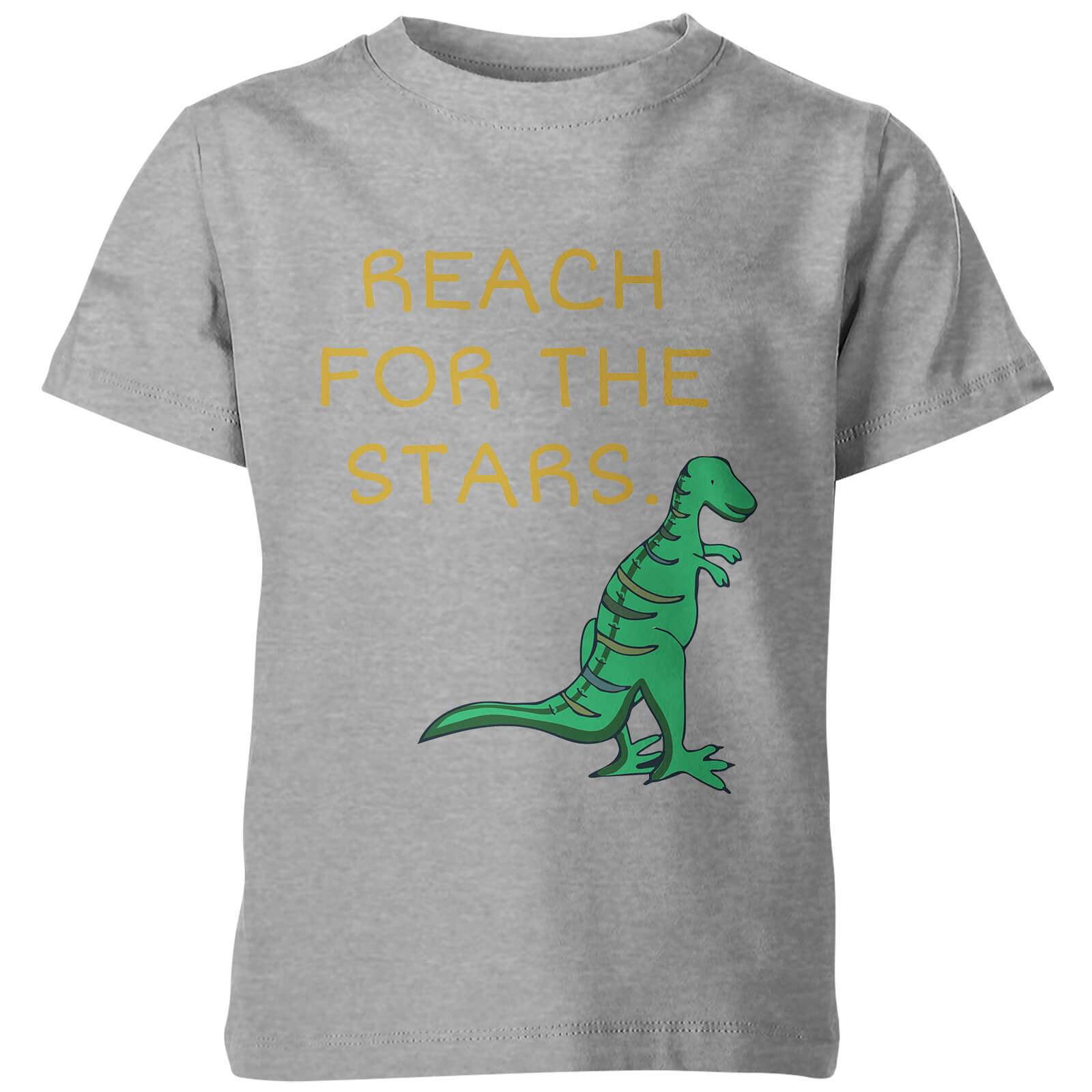 My Little Rascal Kids Dinosaur Reach for the Stars Grey T-Shirt - 11-12 Years - Grey