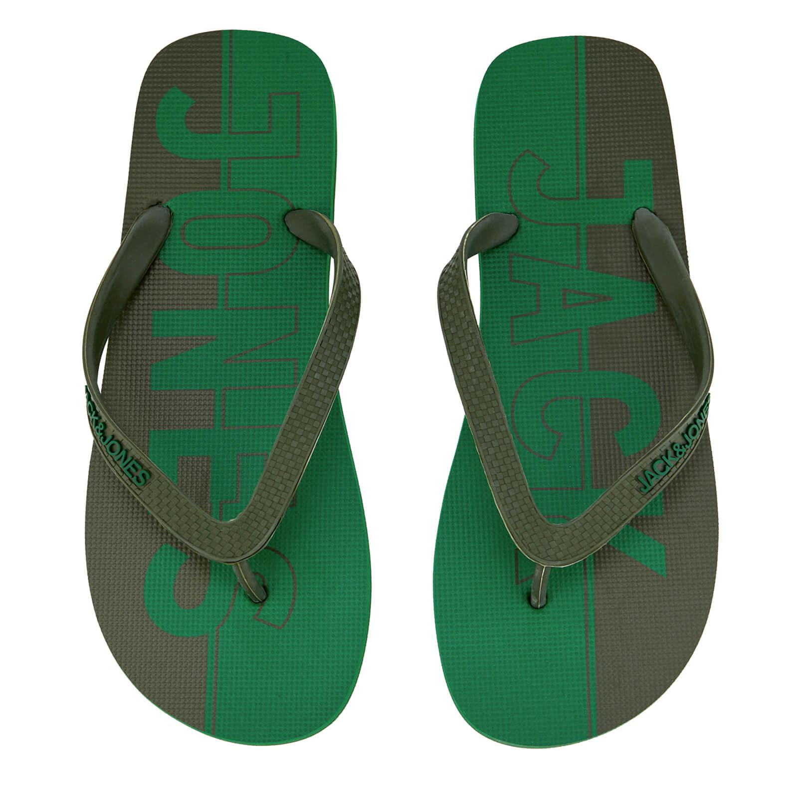 Jack & Jones Men's Logo Flip Flops - Amazon/Rifle Green - UK 6-7/EU 40-41 - Green