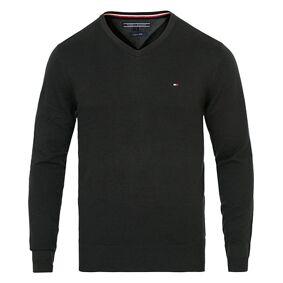 Tommy Hilfiger Cotton/Silk V-Neck Pullover Flag Black