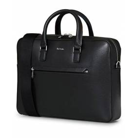 Paul Smith Leather Embossed Briefcase Black