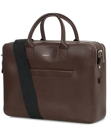 Sandqvist Seth Vegetable Tanned Leather Briefcase Dark Brown