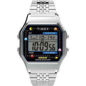 Timex T80 Pac Man Collection Bracelet Silver Tone