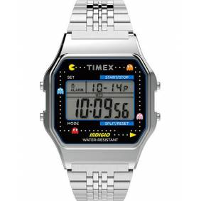 Timex T80 Pac Man Collection Bracelet Silver Tone