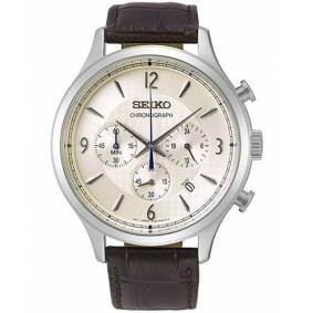 Seiko Chronograph 44mm Calf Leather/Steel Case