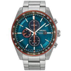 Seiko Solar Chronograph 43mm Steel/Light Blue Dial