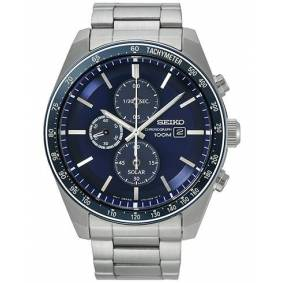 Seiko Solar Chronograph 43mm Steel/Dark Blue Dial
