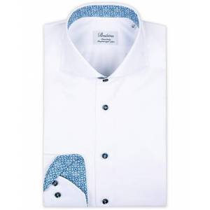 Stenströms Fitted Body Contrast Cut Away Shirt White