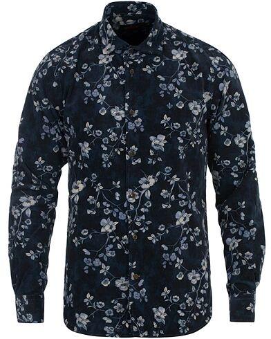 Morris Matteo Printed Corduroy Shirt Navy