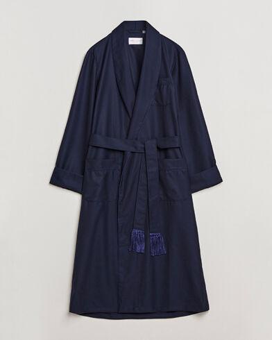Derek Rose Pure Wool Dressing Gown Navy