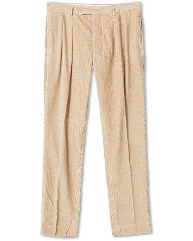 Mackintosh Wild Pleated Cord Trousers Beige