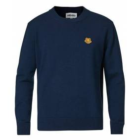 Kenzo Crest Classic Knitted Crew Neck Navy Blue