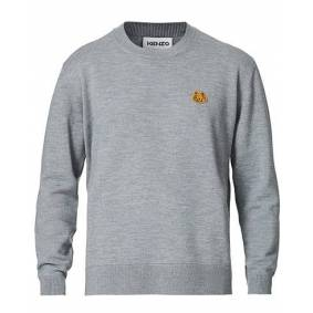 Kenzo Crest Classic Knitted Crew Neck Dove Grey