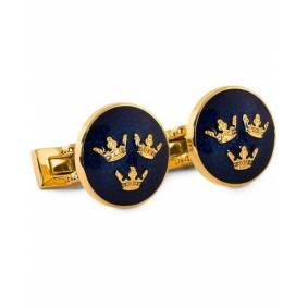 Skultuna Cuff Links Tre Kronor Gold/Royal Blue