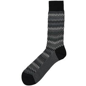 Missoni Zig-Zag Crochet Knit Socks Black/White
