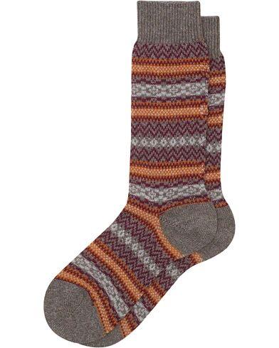 Pantherella Fasque Fair Isle Cashmere Sock Mink Melange